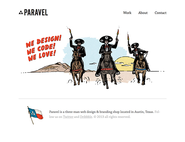 The Paravel homepage very simply talks about what the company does, while still reflecting a lot of personality.
