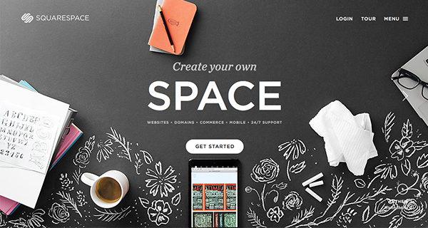 Squarespace use space, texture, colour and typography to set a clear brand tone - even with many different stories to tell.