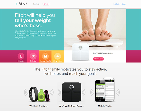 Fitbit is all about the product - and they use size and contrast to help display their products in action whilst also displaying the other products that they also have