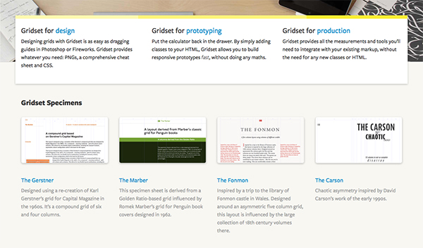 Gridset use a lot of whitespace on their homepage - along with different text styles and accompanying imagery - to highlight key features and examples.