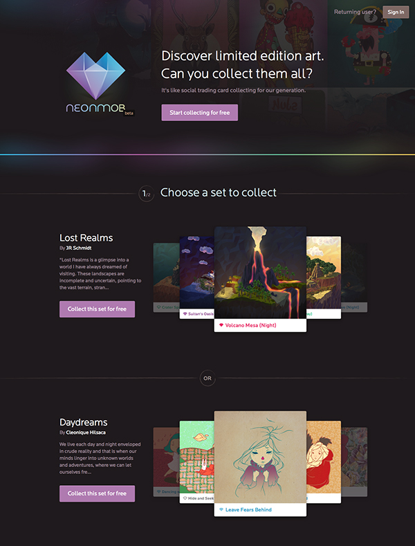 Neonmob is all about the visuals on their website - and rightly so as it has everything to do with their product Neonmob display their images in a great way though almost semi-realistically as if youre holding the card decks themselves