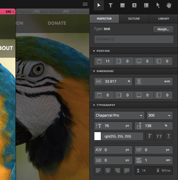 Screenshot from Macaw's interface