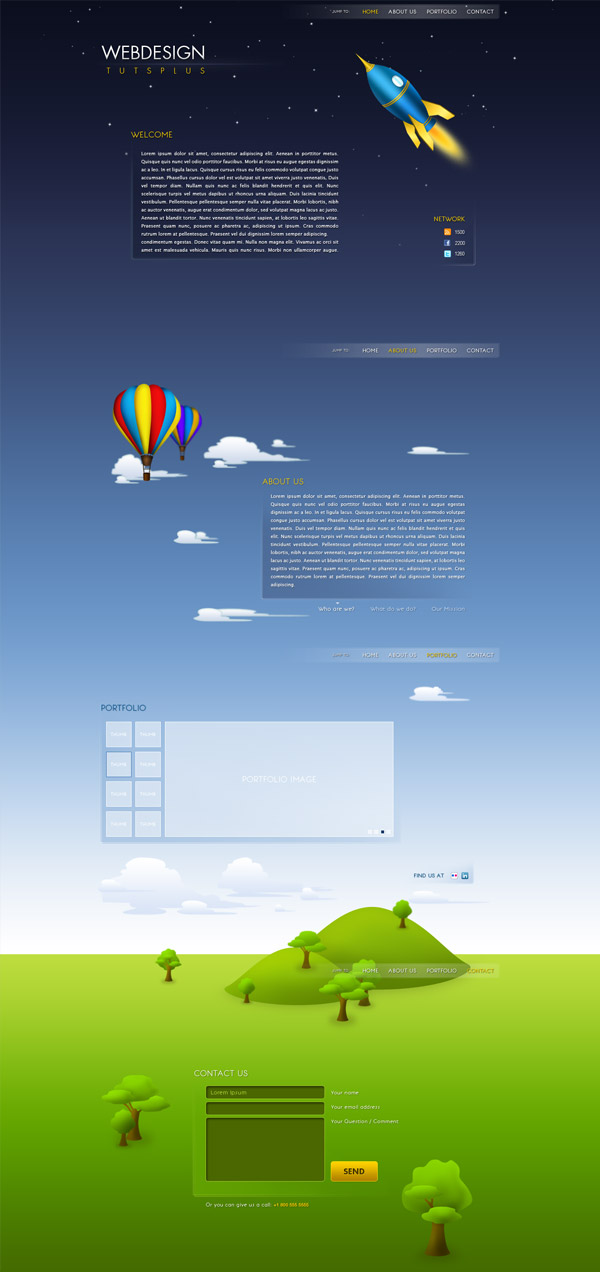 single page website designs