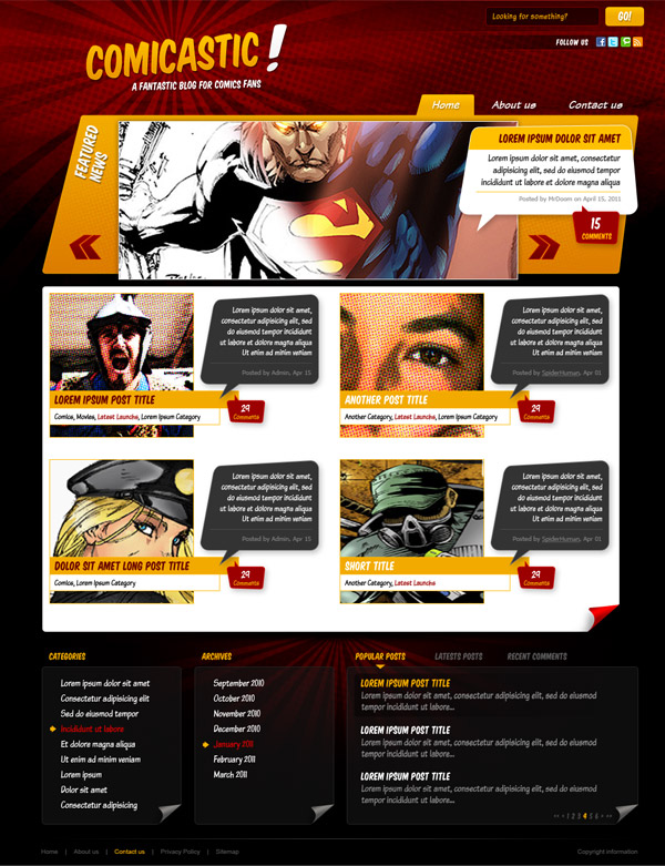 Create a Comic Book Themed Web Design, Photoshop to HTML + CSS ...