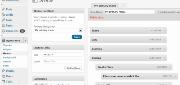 Custom Menus in WordPress 3.0