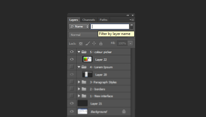 Photoshop CS6 Layer Search