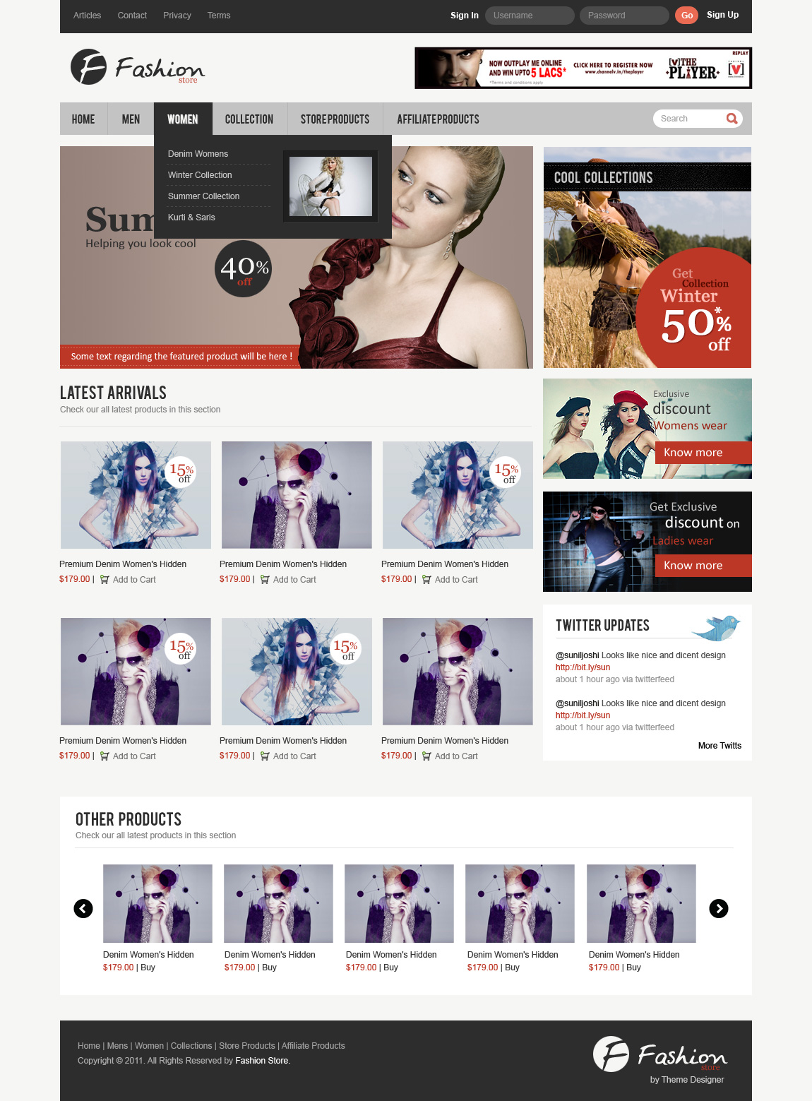 Exclusive freebie fashion store ecommerce layout psd for Free microsite templates