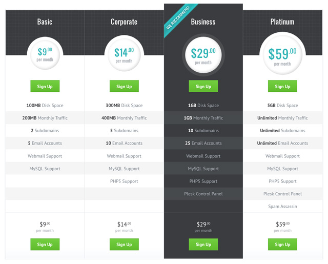 Design a modern pricing table in photoshop for Web page table design
