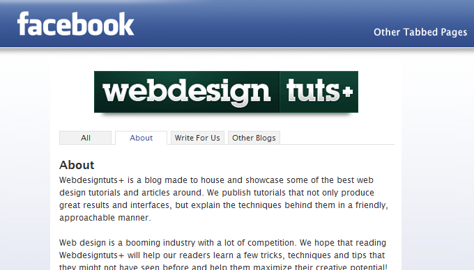 webdesigntuts Facebook app tabbed pages
