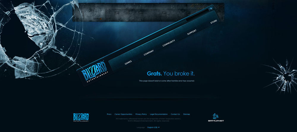 Blizzard Entertainment's 404 Page