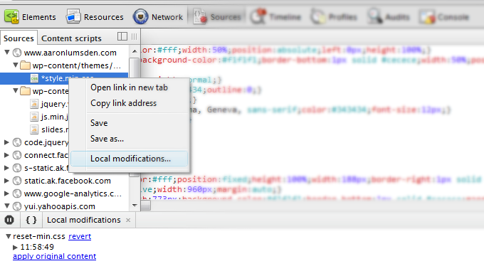 Chrome's dev tools local modification