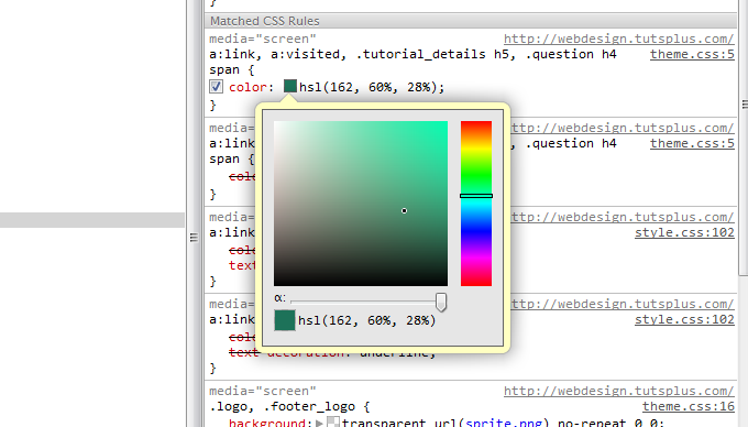 Chrome's dev tools color picker