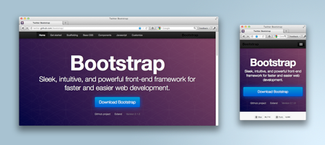 Screenshots of Twitter Bootstrap at desktop and mobile breakpoints