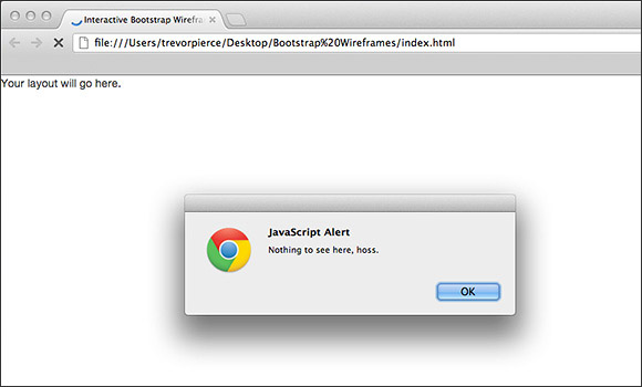 Web browser with Javascript alert box open