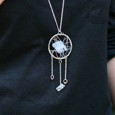 Preview for Make a Statement Dreamcatcher Necklace with Stones and Wire