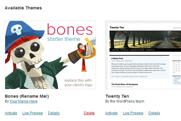 Setting Bones to use as actual theme