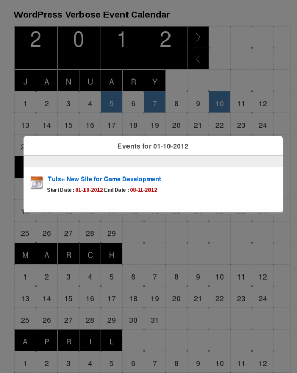 WordPress Event Calendar Using Custom Post Types and Verbose