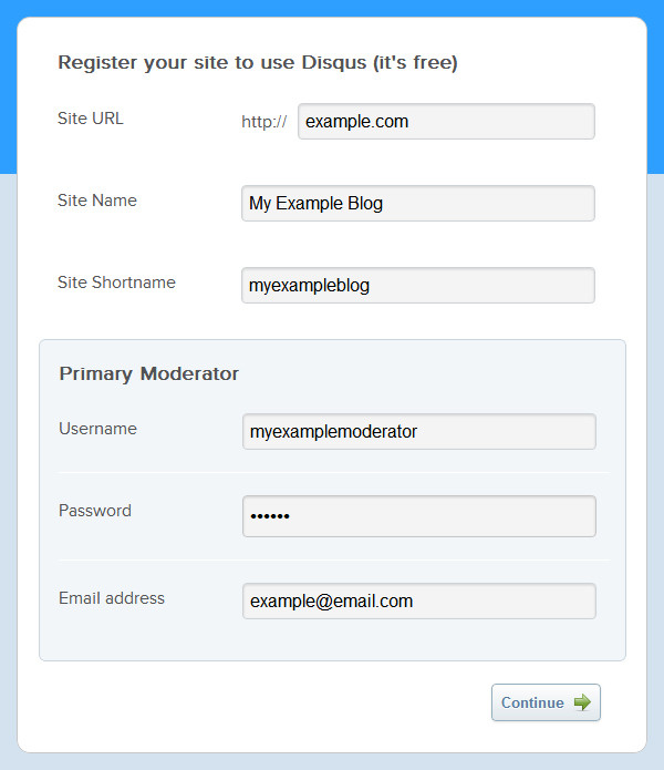 Screenshot 1: Registering a new account on Disqus