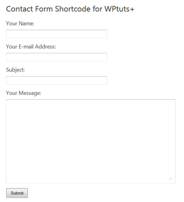 Screenshot of our contact form