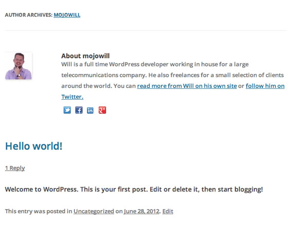WordPress Author Page