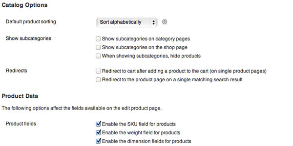 WooCommerce Catalog Settings