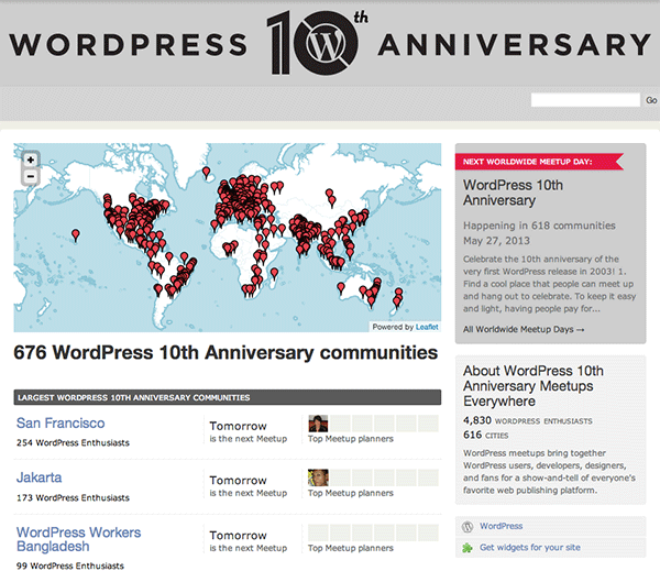 WordPress Meetup Everywhere 10th Anniversary