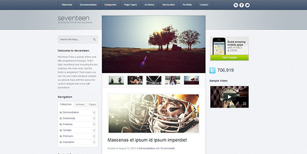 Two column sidebar design example: Seventeen WordPress Theme