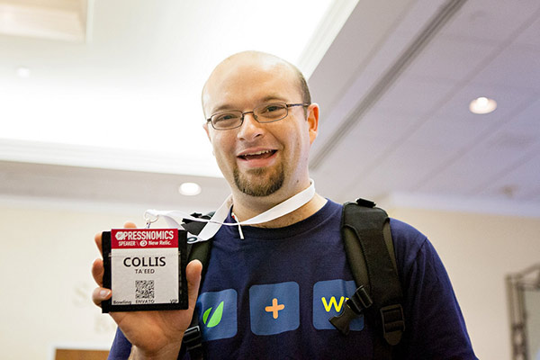 Collis with his lanyard at PressNomics in 2012