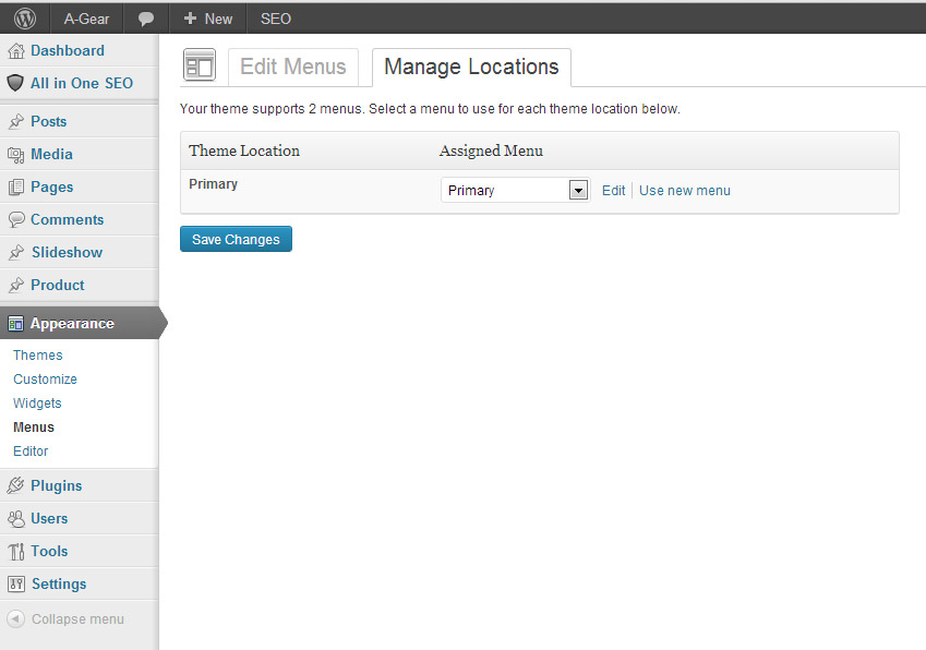 Wordpress Menu Management Page