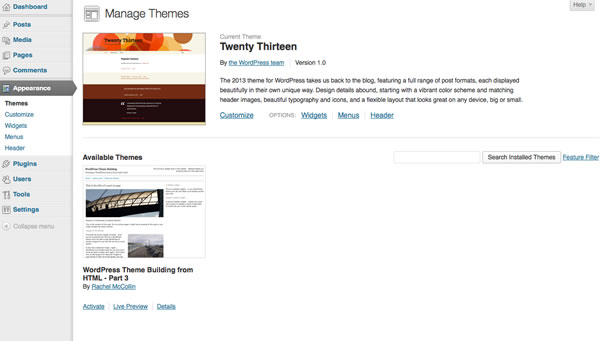 creating-wordpress-theme-from-static-html-theme-admin-screen-with-theme