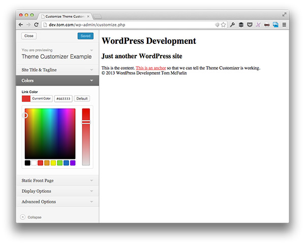 WP Customize Color Control