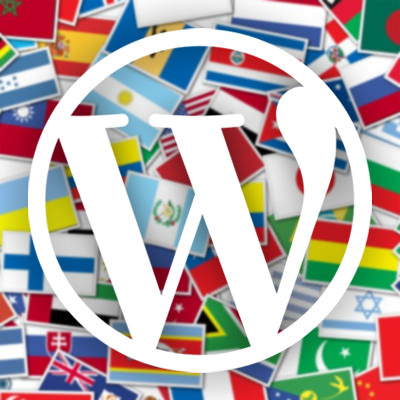 Wordpress logo with flags background