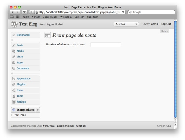 Create a settings page for your wordpress theme for Table th scope row