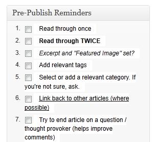 Pre-Publish Reminders