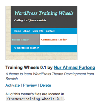 WordPress Theme Development Training Wheels: Day One